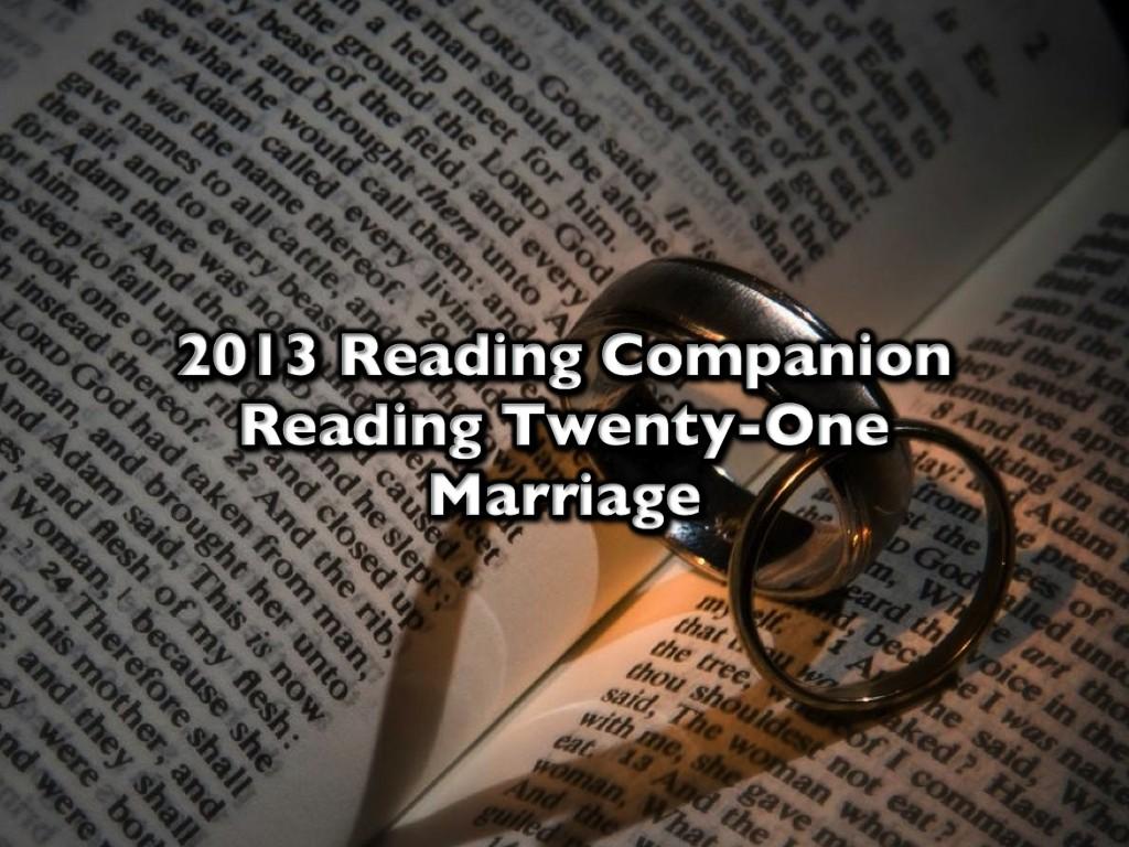 2013 Reading Companion – Reading Twenty-One – Marriage