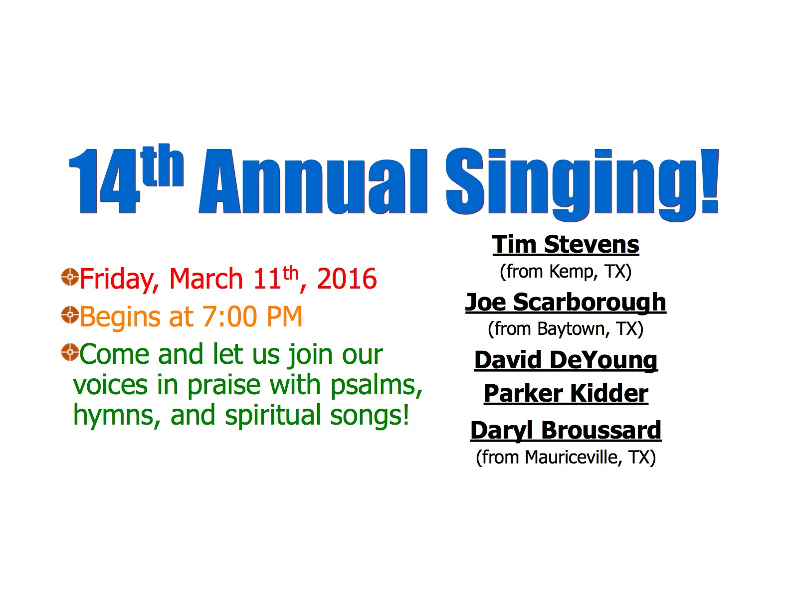 14th Annual Singing