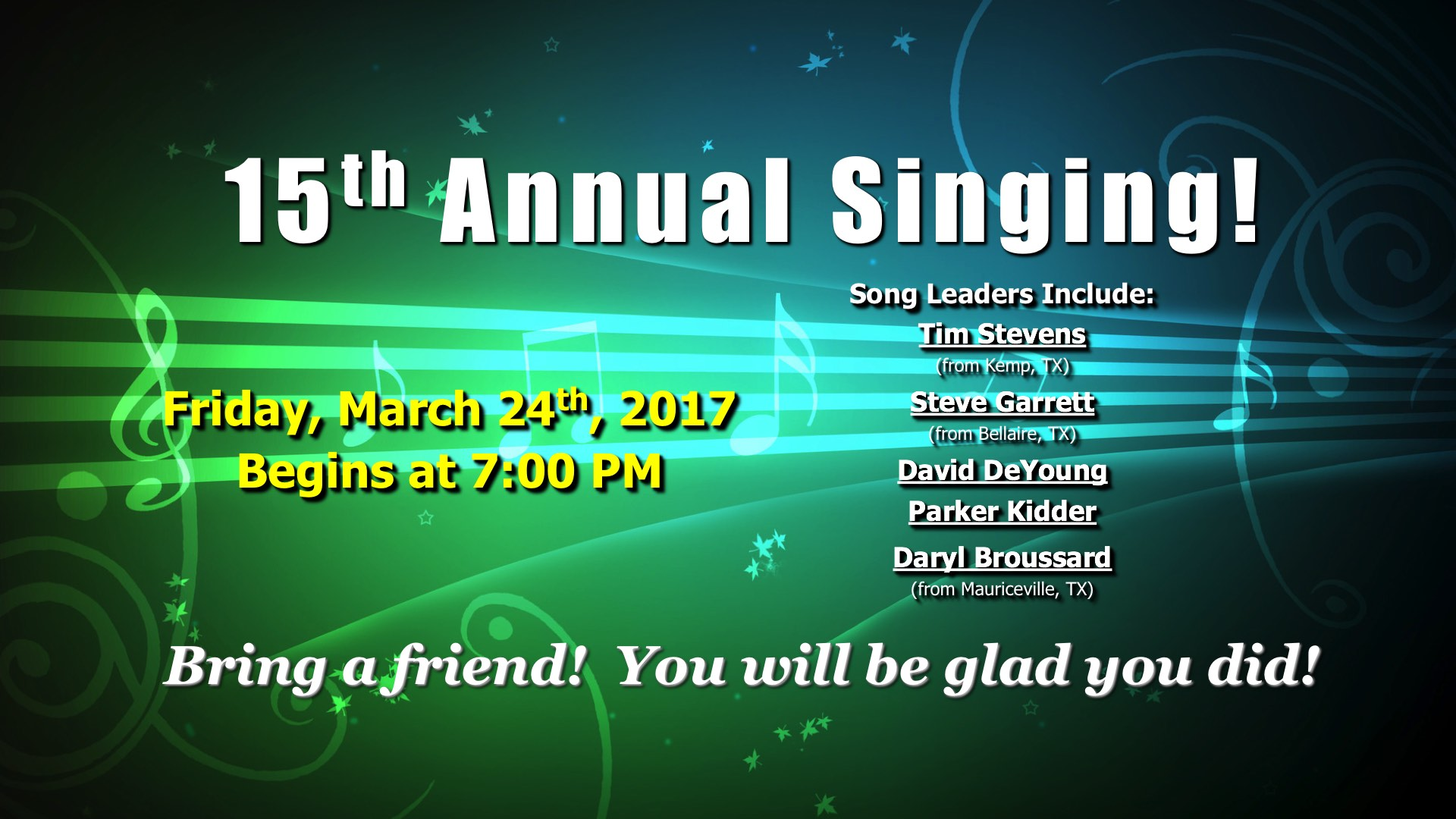 15th Annual Singing!