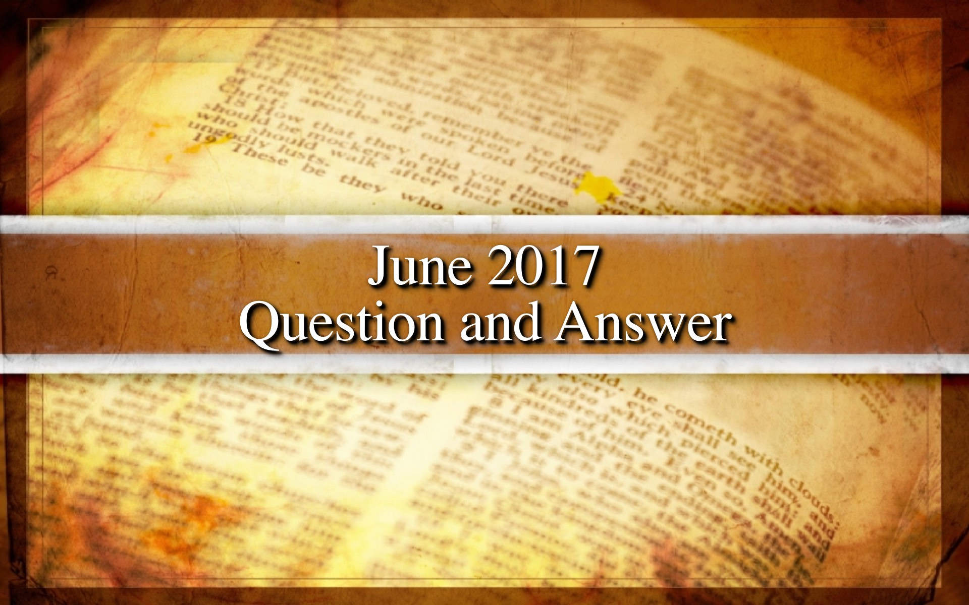 June 2017 Question and Answer